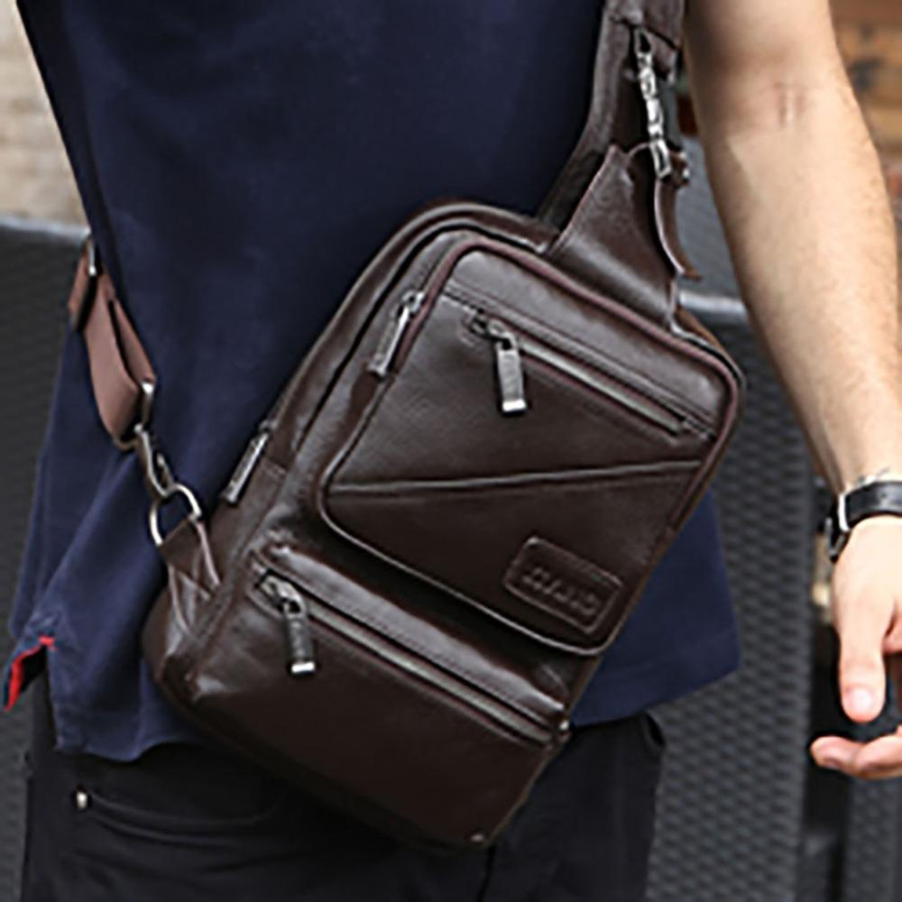 4548aa6e53 Men S First Layer Cowhide Single Chest Back Day Pack Travel Riding Men  Genuine Leather Sling Cross Body Messenger Shoulder Bag Bags Purses From  Sunsnoww