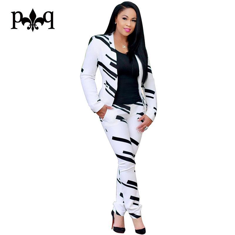 06e7d0f1de63 2019 Hilove Long Sleeve Women Jumpsuits Rompers 2017 Autumn Black White  Jumpsuit Elegant Office Ladies Two Piece Set OL Overalls Y1891807 From  Zhengrui07