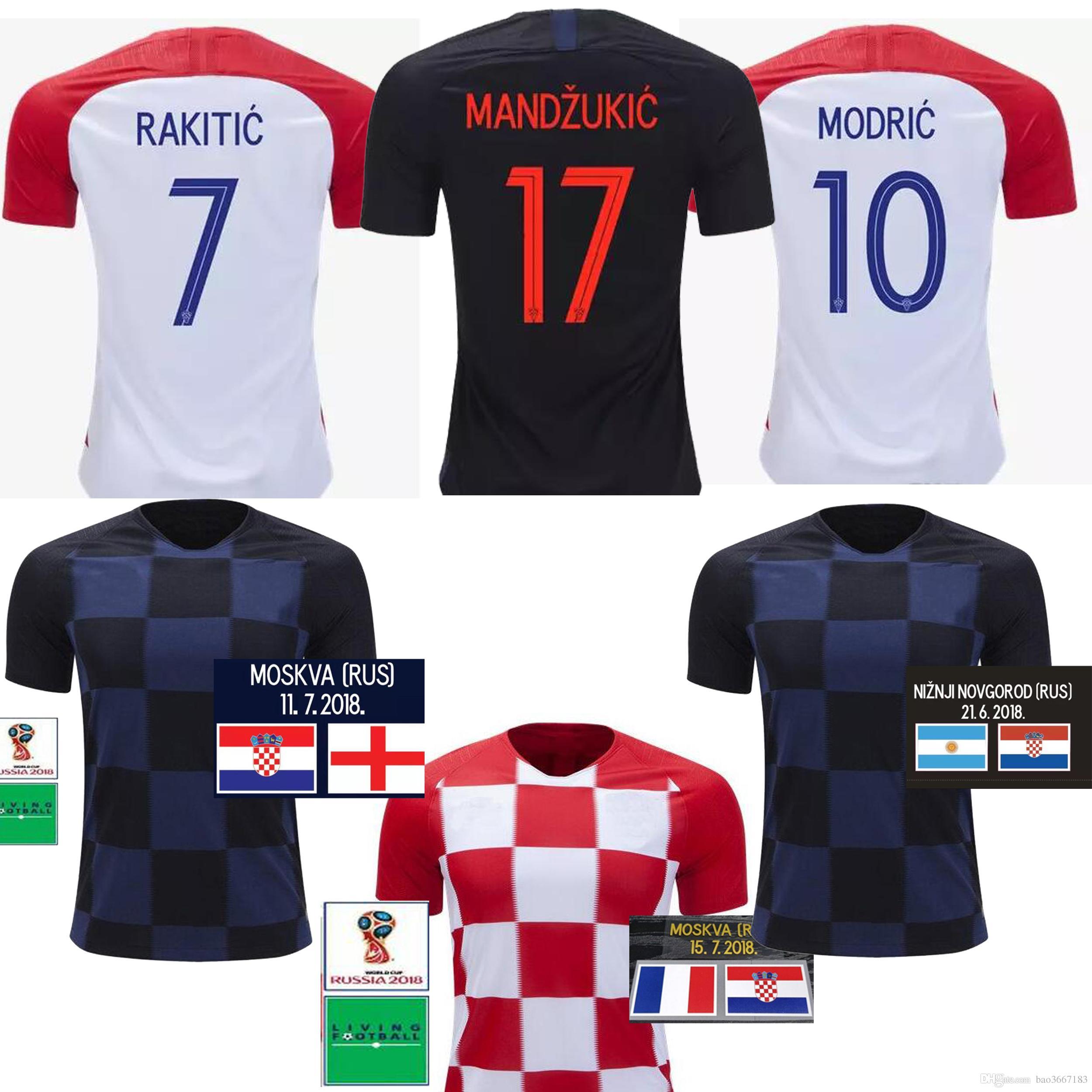 f47a3e804 2019 2018 World Cup MODRIC MANDZUKIC RAKITIC Cro Home Soccer Jerseys ...