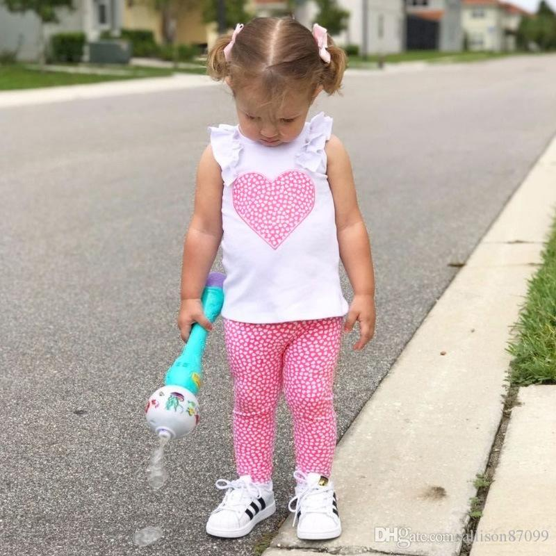 Ins Baby girl Sweet heart Tops Tees Ruffles sleeve + Leggings pant 2pcs Clothing Sets Baby girls clothing 2018 Summer