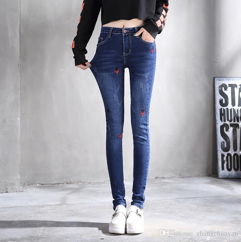 d78201c4adc Mid Waist Embroidery Full Length Skinny Jeans for Girls Students Denim Jeans  Elastic Trousers Female Bottom Clothes Made in China Woman Jeans Carpis  Denim ...