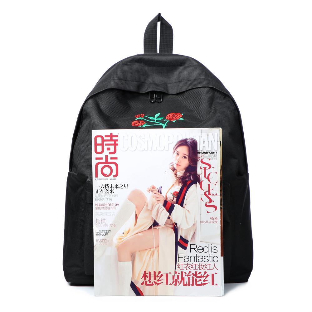 29c427d7cb Moon Wood Harajuku Rose Embroidery Backpack White Black Women Travel Backpack  Students Canvas Double Shoulder Bag Mochila M627 Backpack Purse Dog Backpack  ...