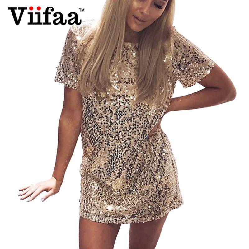 a2c845099 Compre Vestido De Oro De Las Lentejuelas De Viifaa 2017 Mujeres Del Verano  Vestido Corto Atractivo De La Camiseta De La Tarde De La Tarde Vestidos  Elegantes ...