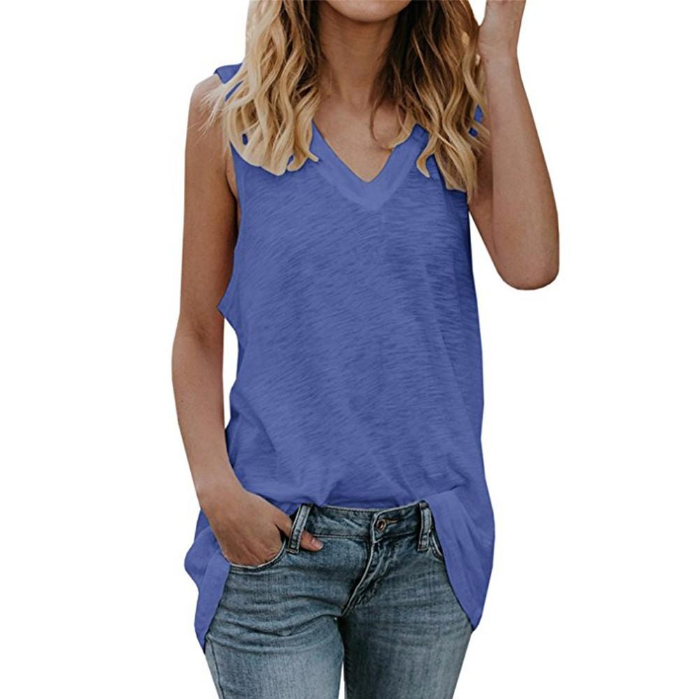 90cb18b270b2 2019 2018 Summer Womens Tank Tops V Neck Sleeveless Casual Summer Loose Fit  Vest Basic Tunic Shirts Female T Shirt Plus Size From Amandal