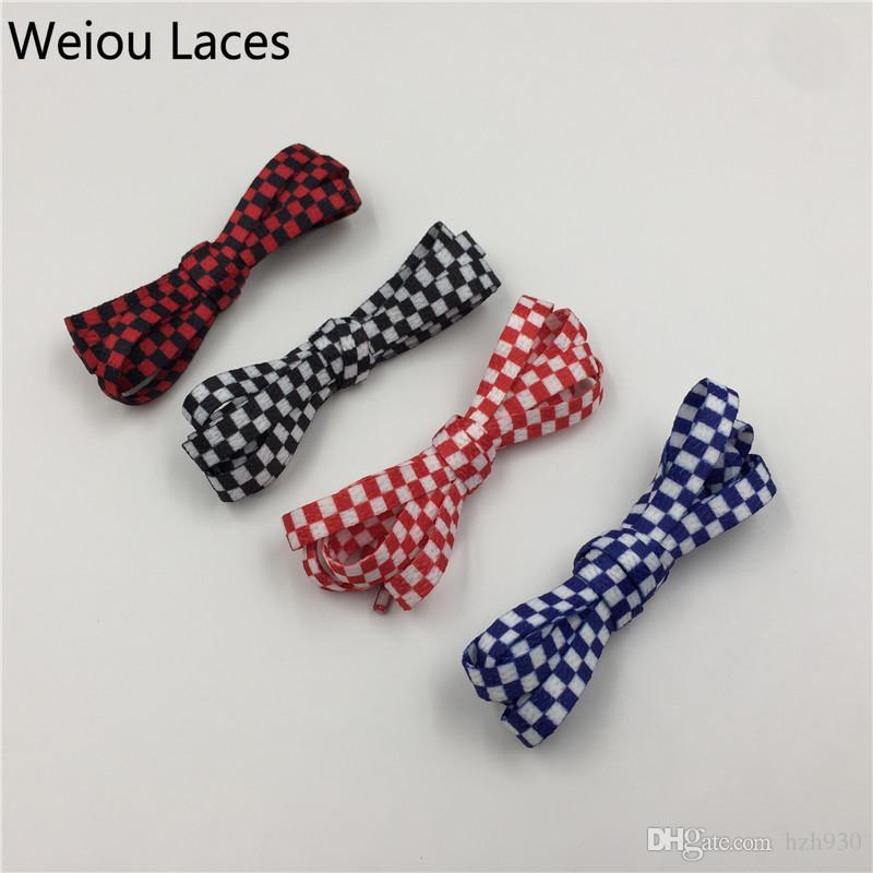 Weiou New Arrive Printing Checked Pattern Red-Black Blue-White Flat Shoelaces Silk Screen Printed Shoe Laces For Sneaker in 120cm