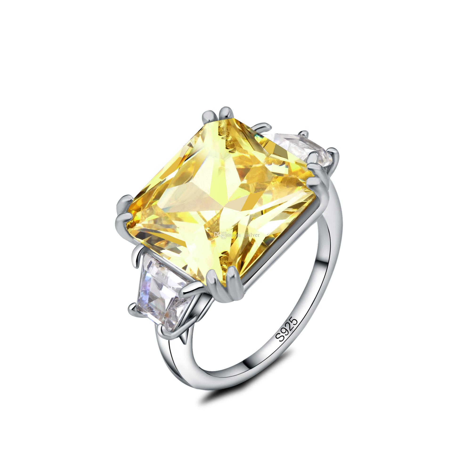 Natural stone Ring Natural yellow crystal Ring S925 sterling silver trendy luxurious big Square women men gift Jewelry Fine Jewelry
