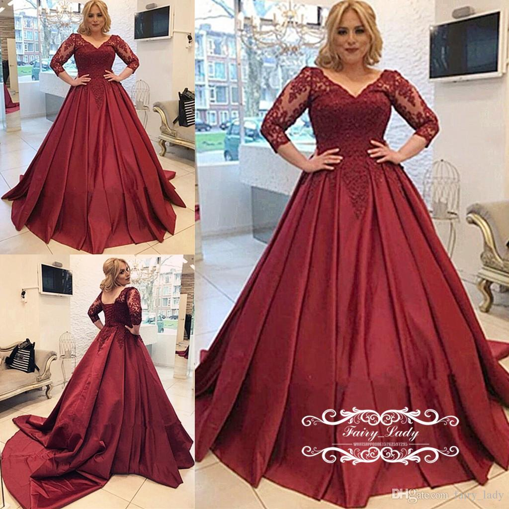 b3ad839115f 2018 Burgundy Sheer Lace Quinceanera Dresses Pageant 3 4 Long Sleeves A  Line V Neck Girls Sweet 16 Dress Vestidos De 15 Anos 15 Dresses Quinceanera  Dresses ...