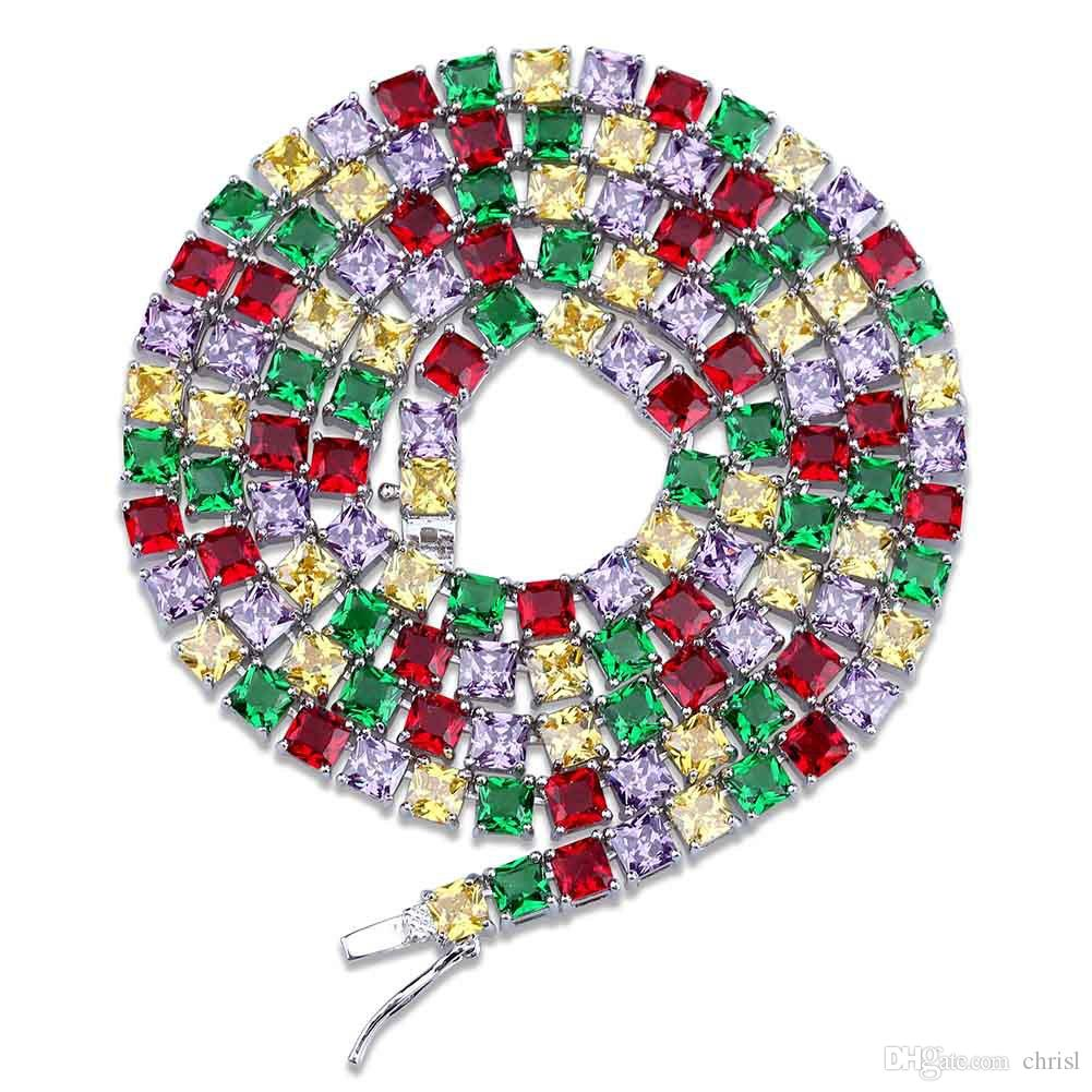 Hip Hop Мужчины Gold / Silver Цвет 1 ряд 5 мм Полный Iced Out Теннис цепи Micro Pave Красочные Циркон ожерелье цепи 18 22inch