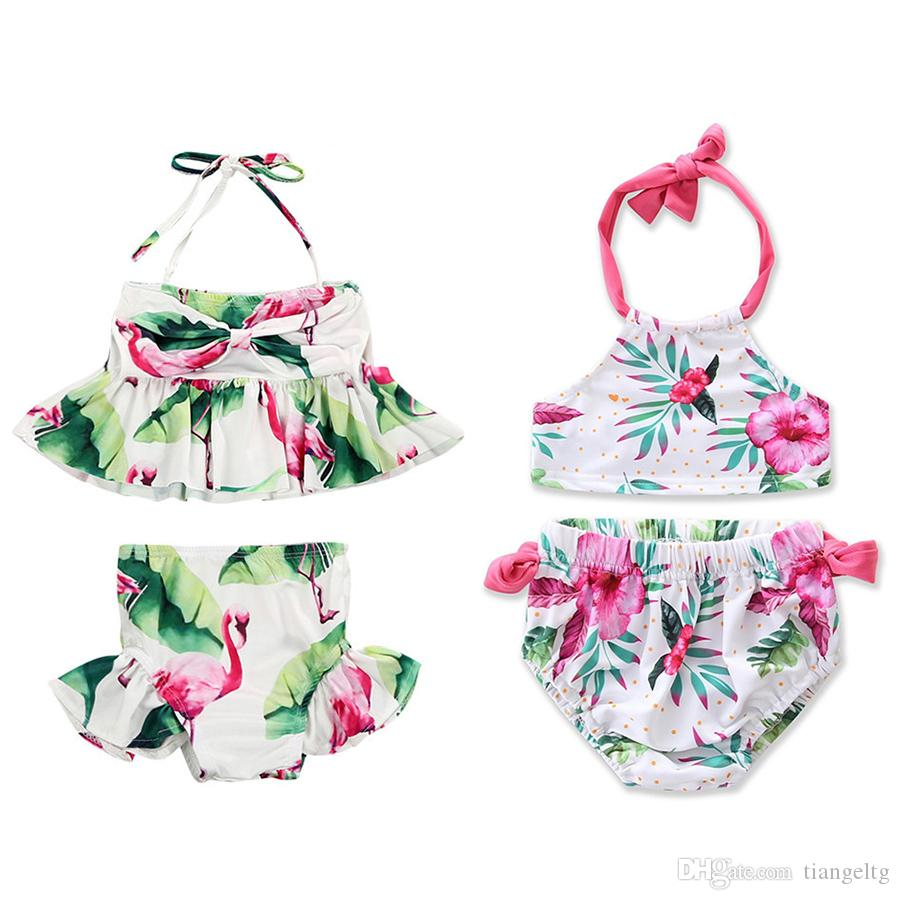 dfe779d6e7 Summer Girls Bikini Swimsuit Flamingo Floral Cute Two-piece Bathing ...