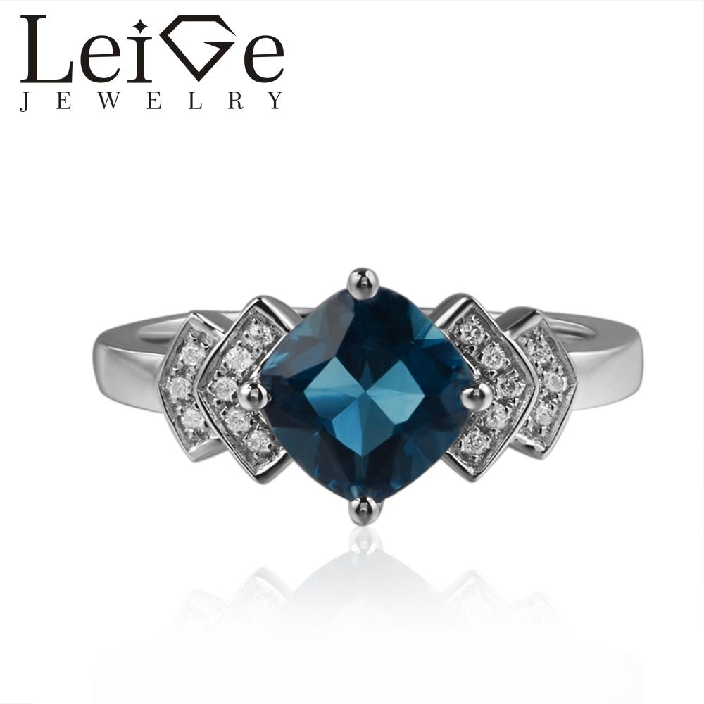 Leige Jewelry London Blue Topaz Rings Cushion Cut Blue Gemstone Engagement Rings For Woman 925 Sterling Silver Customized