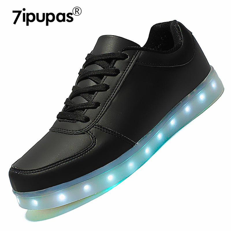 7ipupas Lighted Up Led Shoes Mens Unisex Casual White Black ... a91447af87c2