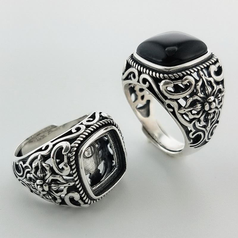 b7838718905f 2019 Natural Black Onyx Oval Stone Solid Silver 925 Rings Men Wide ...