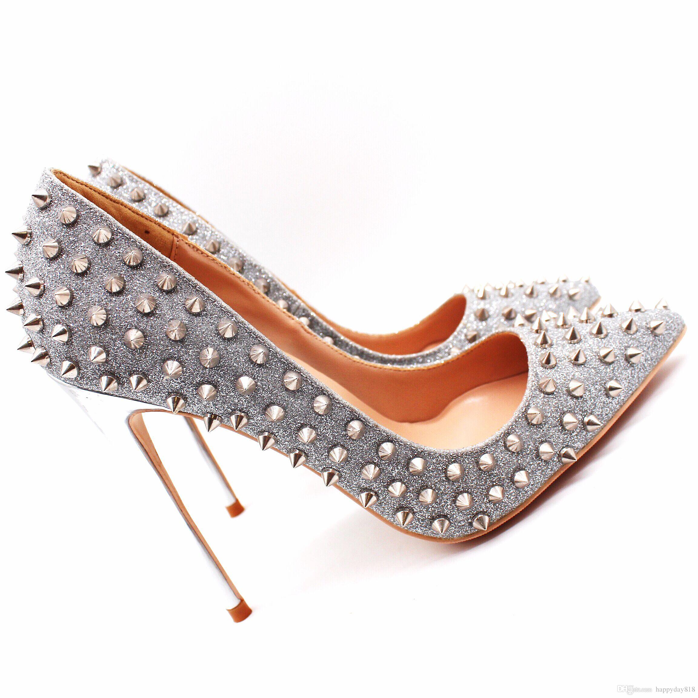 2ba56503435 Real Photo Genuine Leather Office Lady Silver Glitter Spikes Point Toe Lady  High Heel Shoes Pump Size 33 43 8cm 12cm 10cm Silver Heels Dress Shoes From  ...