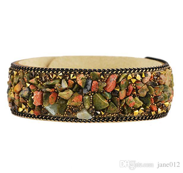 Fashion Jewelry Natural Crystal Broken Stone Multicolor Korea Velvet Bangle Bracelet Paris Fashion Model Wristband