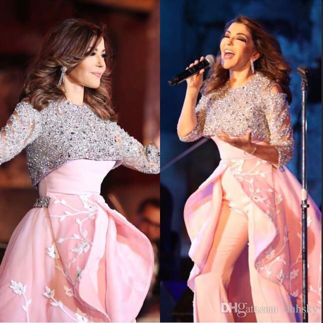 Vestido de noche Yousef aljasmi Kim kardashian Sin mangas con cuello en O Con cuentas Vestido largo con aplicaciones Almoda gianninaazar ZuhLair murad Ziadnakad