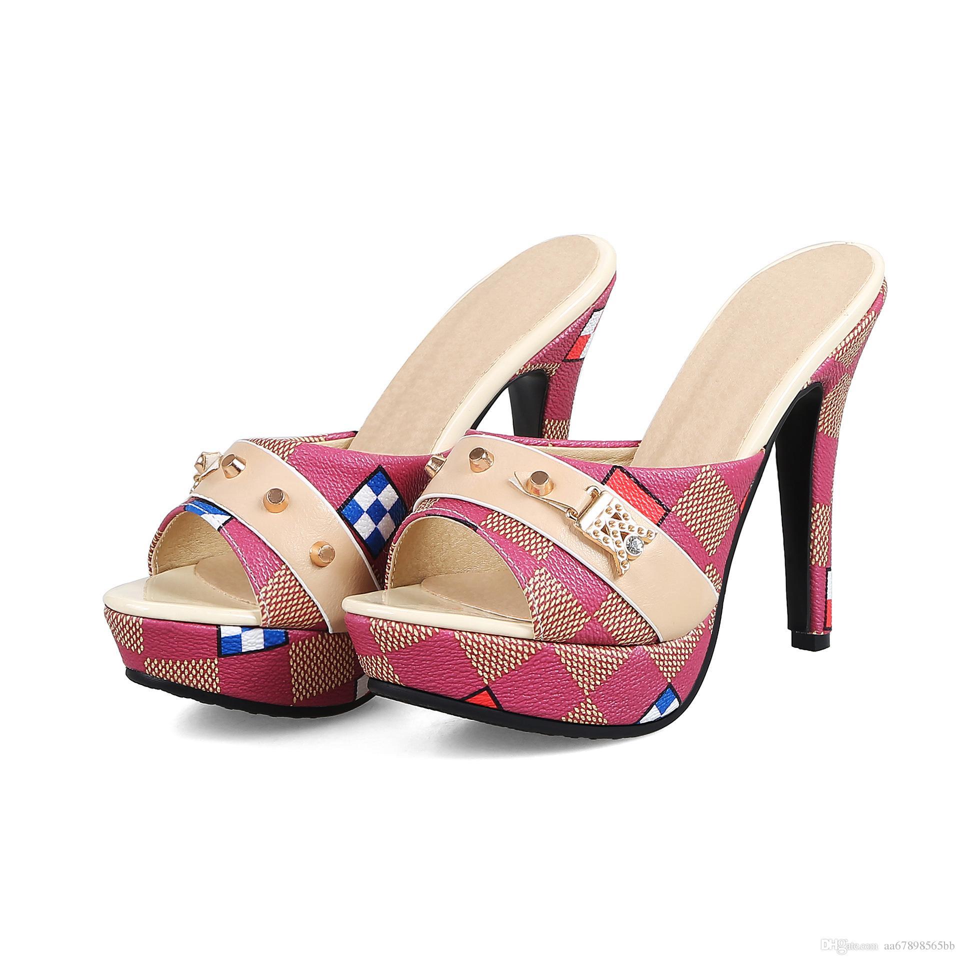 Kadın FLoral Baskılı Deri Yüksek Topuklu Terlik Kadın Ayakkabı Yaz Açık Ağızlı Ayakkabı