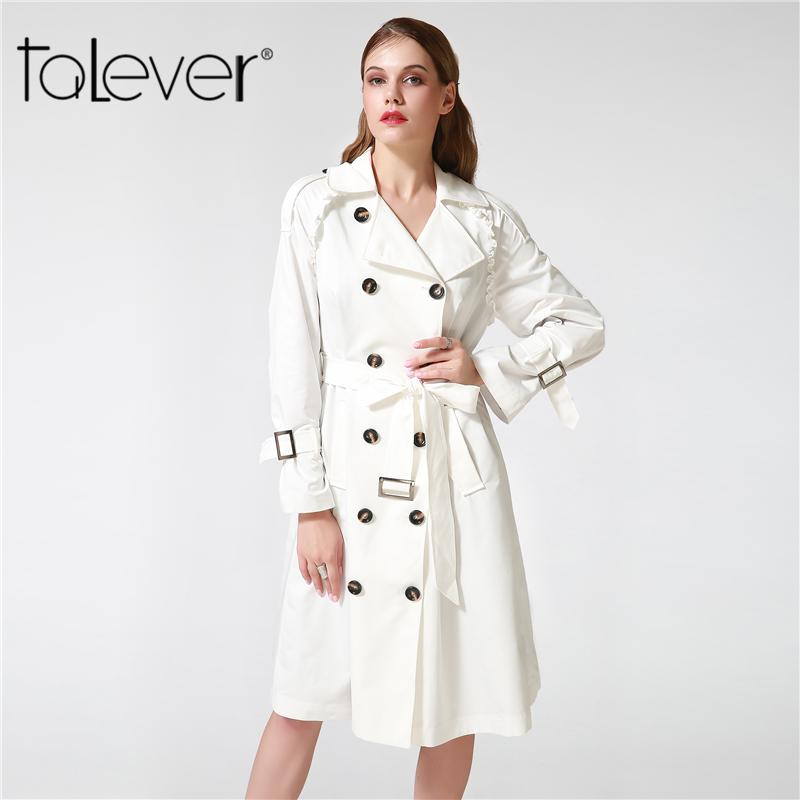 5ba5166b909 2019 Talever Autumn Winter Trench Coat For Women Adjustable Waist Slim  Solid Black Coat White Long Trench Female Outerwear Plus Size 2019 From  New11