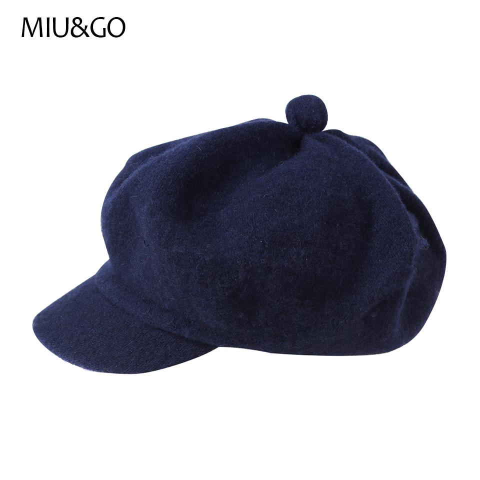 e43c04f32b62a MIU GO Winter Hat with Visor Flat Men And Women Wool Beret Autumn ...