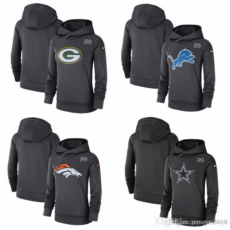 separation shoes 6caf4 60605 Green Bay Packers Detroit Lions Denver Broncos Dallas Cowboys Women's  Crucial Catch Performance Pullover Hoodie - Anthracite