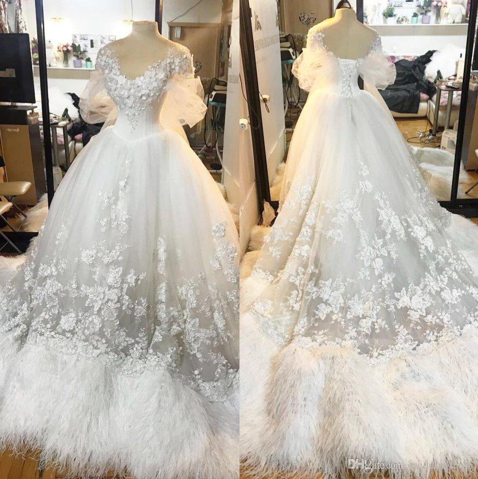 Discount Vintage Gothic Feather Wedding Dresses A Line 3d Appliqued ...