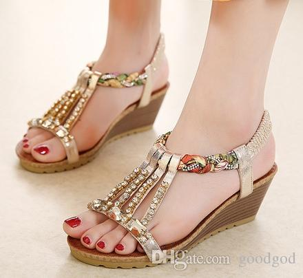 7b45db737aec Women Wedges Sandals Shoes Woman Bohemian National Wind Open Toe Women S  Sandals Ladies Crystal String Bead Beach Sandals Gold Silver Shoe Sale Shoes  Uk ...
