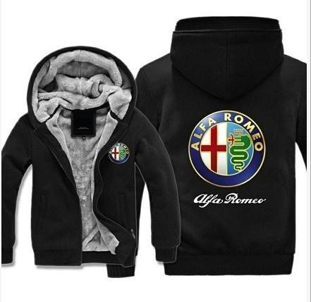 Men Winter Fashion Jacket Alfa Romeo Cashmere Hoodie Thick Jacket