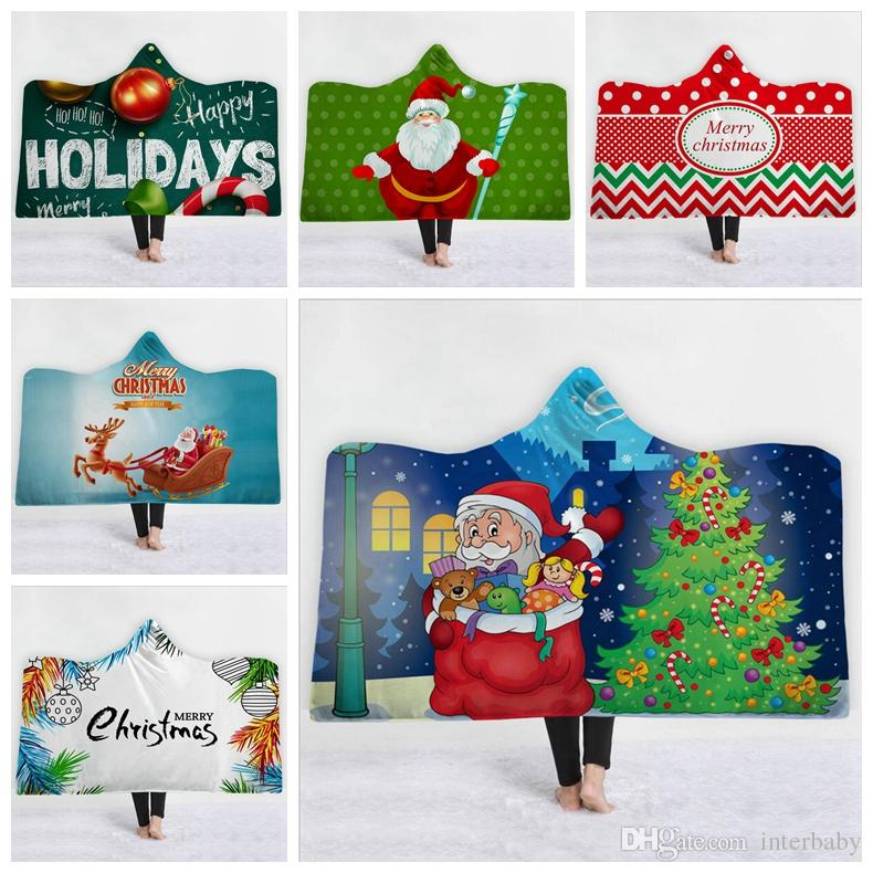 Christmas Fleece.Christmas Baby Blankets Winter Fleece Cloak Ins Hooded Snowman Elk 3d Print Blanket Santa Soft Casual Poncho Designer Shawl Towel Zyl4 4