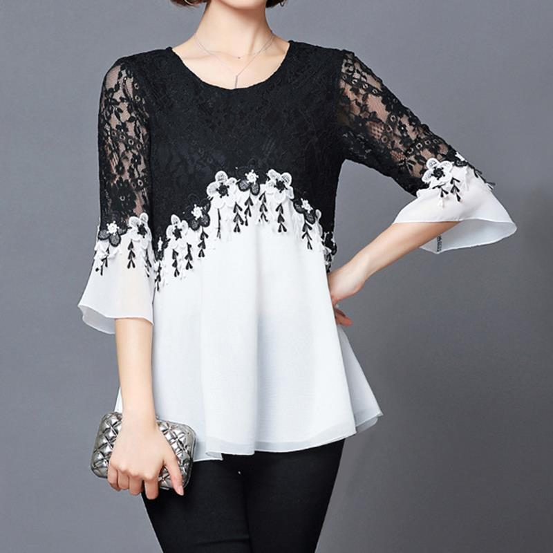 2c890d0ad7e11a 2019 Plus Size 2018 Spring Summer Ladies Hollow Out Flower Blouse Casual  Lace Patchwork Tops Long Sleeve Chiffon Shirts WS6238V From Lookpack