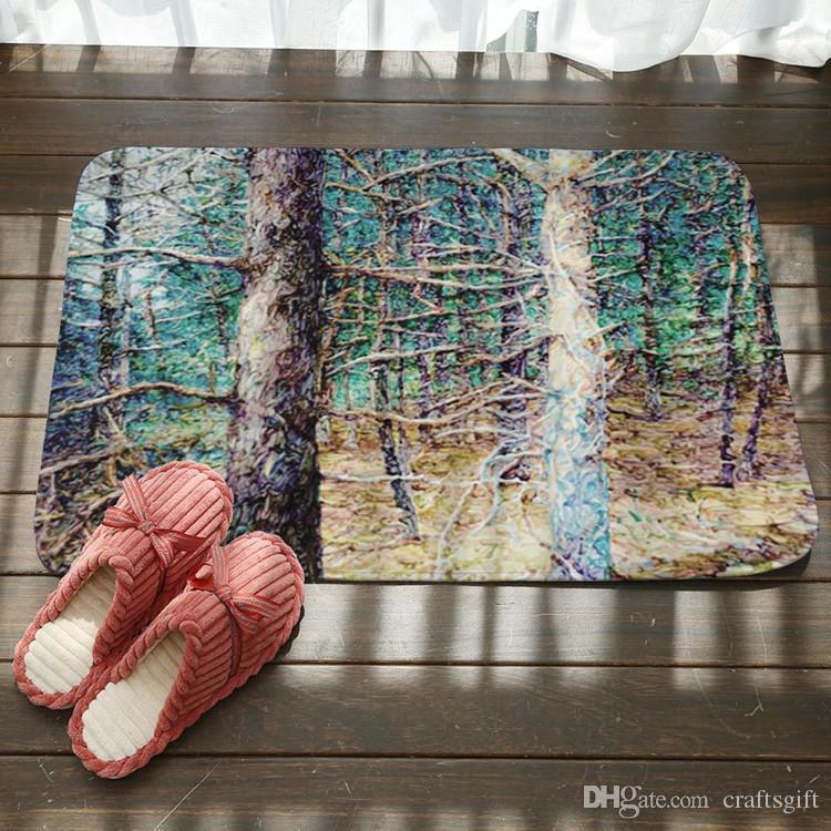 Color Life Tree Bath Mats Digital Floor Door Mat Modern Kitchen Flannel Foot Pads Bathroom Mats