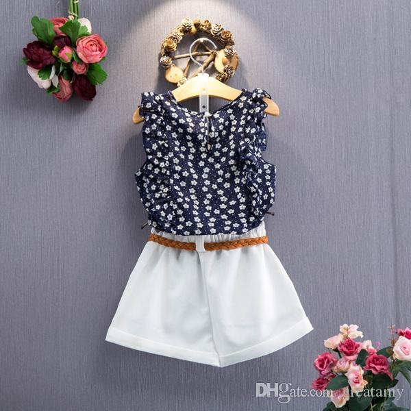 baby clothes girls sleeveless floral tops+shorts clothing set girl's outfits children suit kids summer fashion clothes