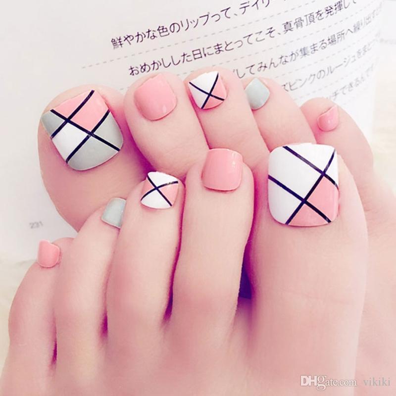 Foot False Nail Tips Cute Fake Toes Nails Toe Art Tool Bride Nails ...