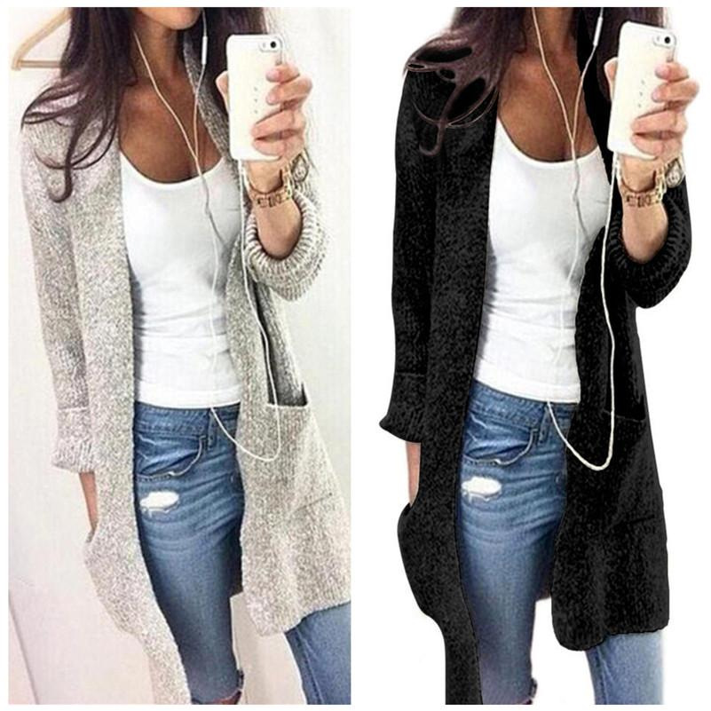 d8826c4dddb9b9 Women Autumn Winter Cardigan Long Sleeve Loose Knitted Sweater Jacket Long  Style Double Pocket Sweaters Coat Solid Knitting Outerwear S 5XL Childrens  Yellow ...