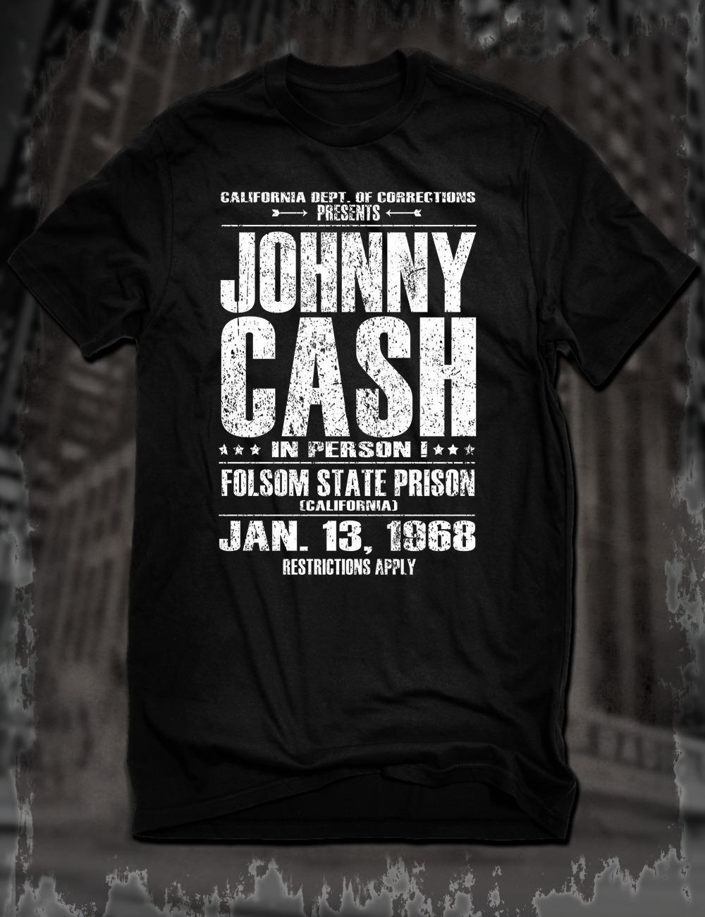 19d5f503d New Black Johnny Cash Live At Folsom Prison T Shirt Vintage Poster Country  Tee Neck T Shirts T Shirts Only From Jie53, $14.67  DHgate.Com