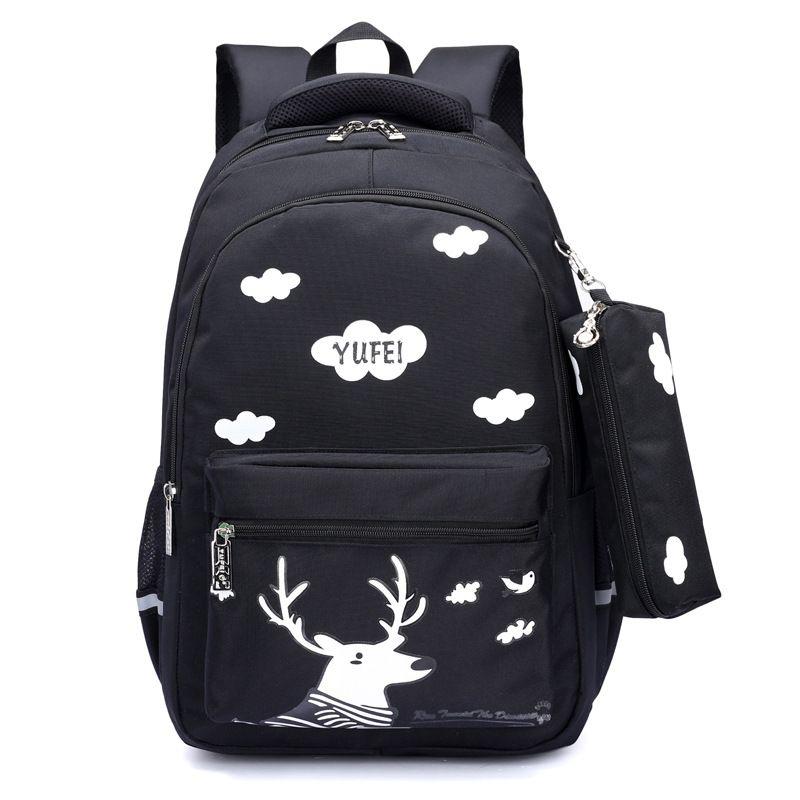6c3cccea59a Холст дети рюкзак милый олень шаблон мешок школы для подростков DaypacGirls  рюкзак ...