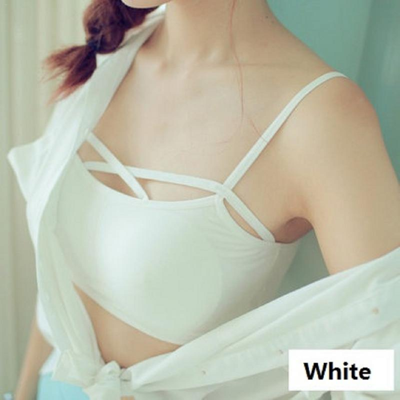 d66c950ac8333 2019 New Fashion Sexy Strappy Padded Bra Women Underwear Underskirt Bustier  Bra Bralette Corset Crop Tops Tank Top Blouse Black White From Pulchritude