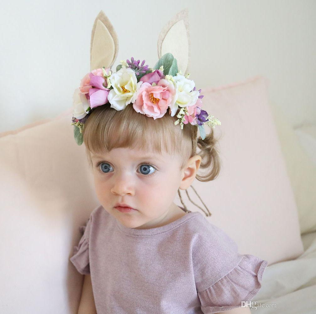 Fashion Rabbit Ears Bridal Crown Toddler Bunny Flower Crown Headband