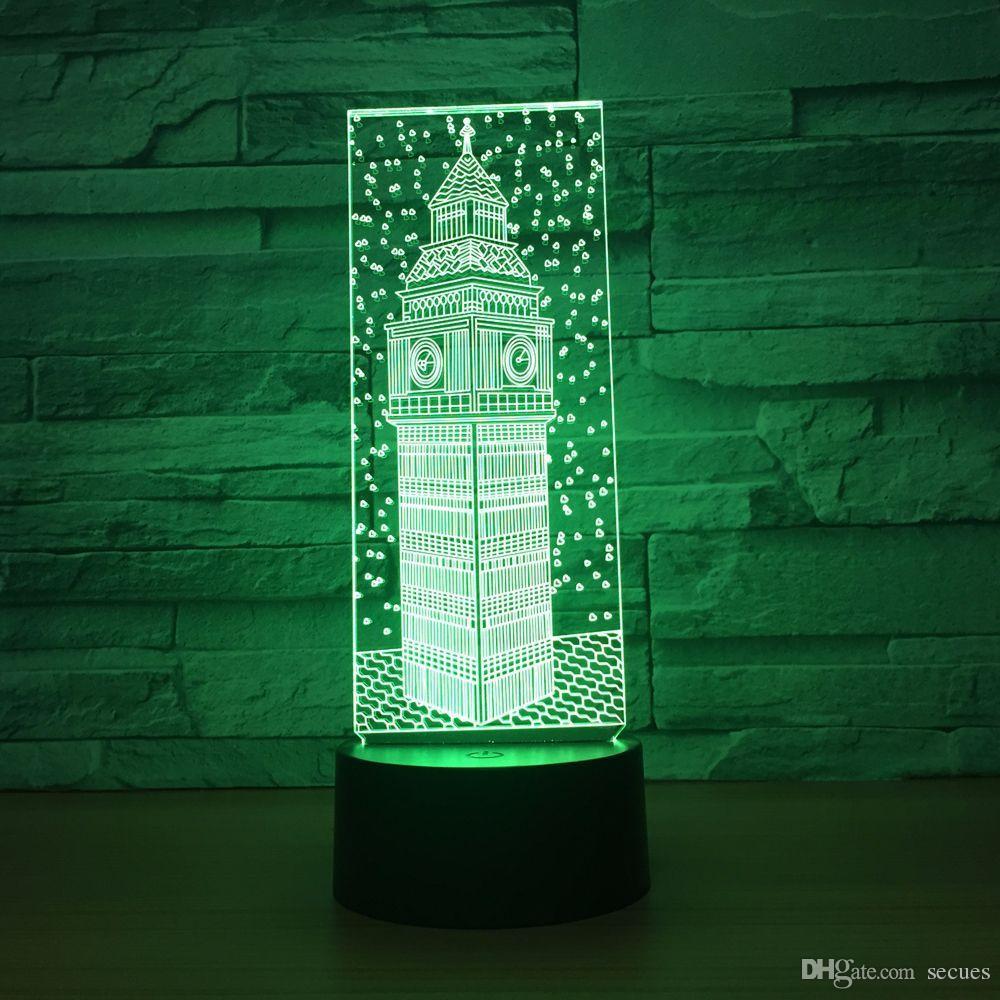 Big Ben 3D Optical Illusion Lamp Night Light DC 5V USB Powered 5th Battery Wholesale Dropshipping Free Shippin