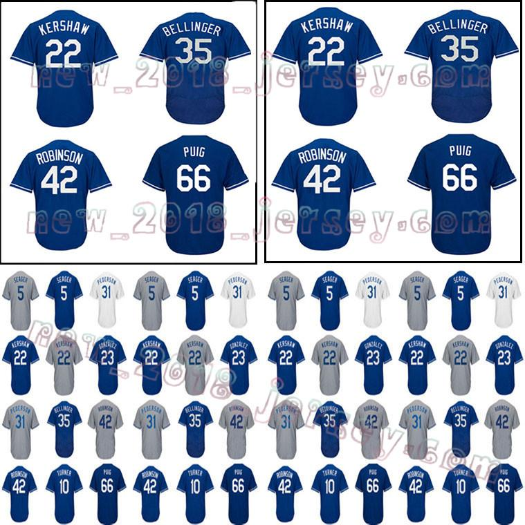 new concept 849ba adb18 Men's Los Angeles jersey 22 Clayton Kershaw 10 Justin Turner 66 Yasiel Puig  31 Mike Piazza 35 Cody Bellinger 2018 World Series jerseys
