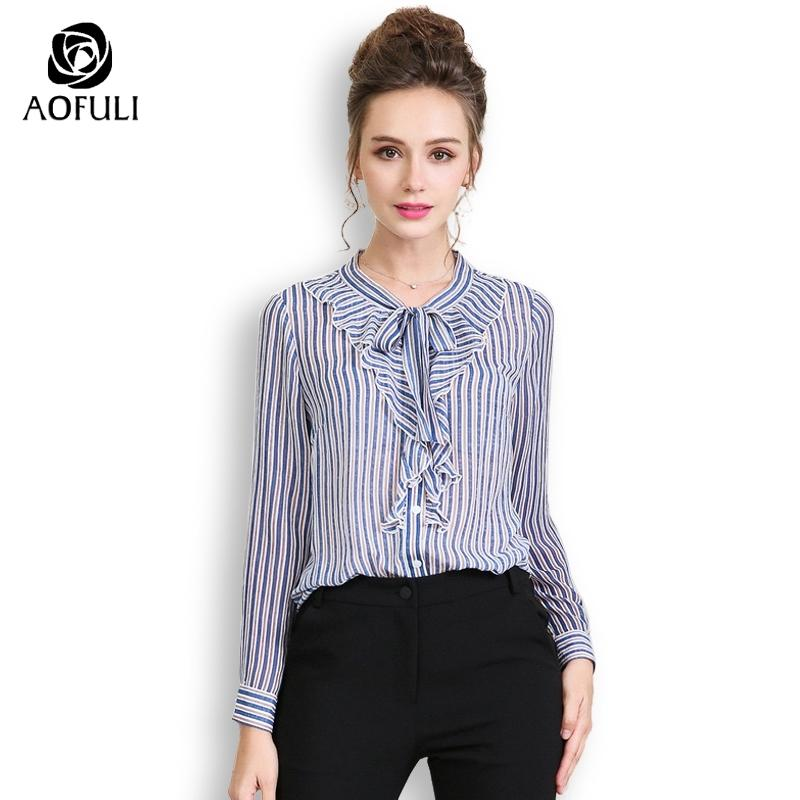 f8691072ff23 2019 AOFULI Plus Size Women Striped Blouse Shirt Long Sleeve Print Tops  With Bow Tie Ruffles Casual Styles L XXXL 4XL 5XL A3660 From Buttonline