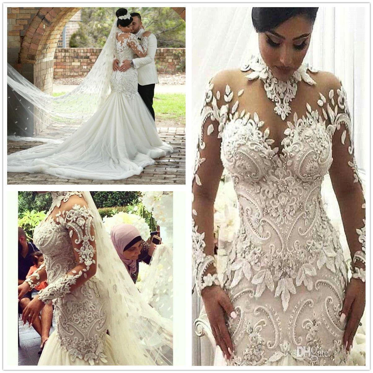 Azzaria Haute Sheer Maniche lunghe Abiti da sposa 2018 Illusione Nigeria ad alto collo appliqued in rilievo Dubai Castello arabo Castello sirena Abito da sposa