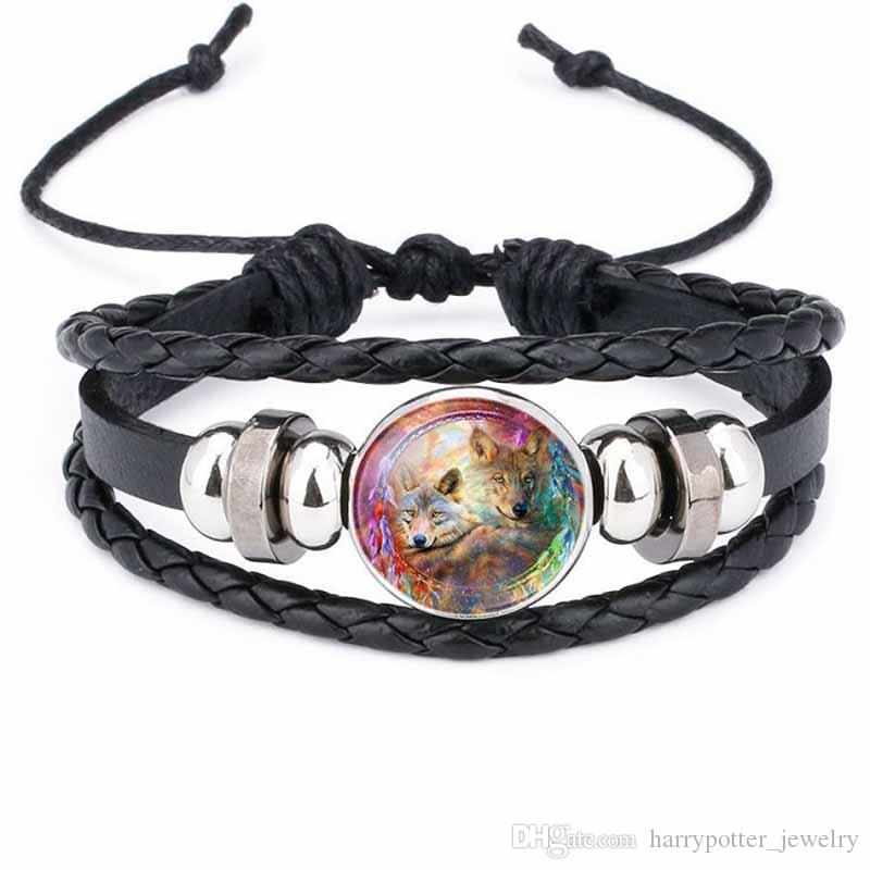 Лунный волк ручной работы стеклянный кабошон тканый кожаный браслет браслеты мужские черные панк животных браслет хип хмель ювелирные изделия