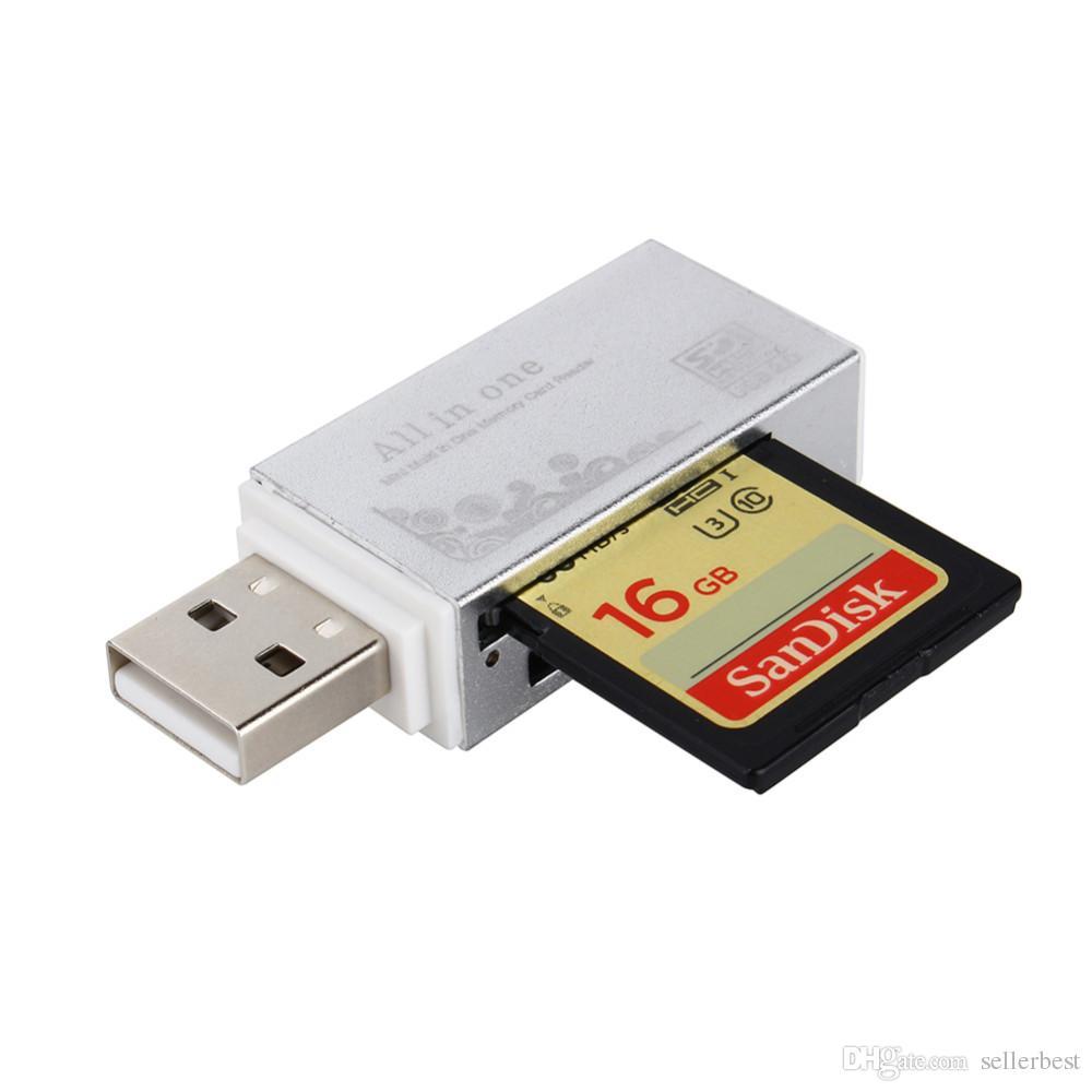 Nuovo lettore di smart card Memory Card Mini Memory Card Memory Stick Pro Duo Micro SD TF M2 MMC SDHC MS Metal Reader