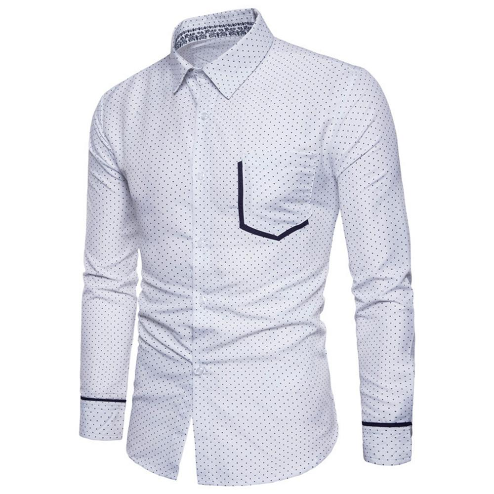 Tide Boy Shirt Polka Dot Print Male Casual Office Blouse Fashion