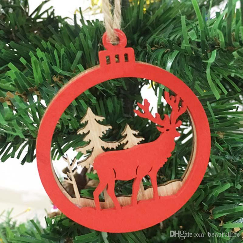 red merry christmas tree ornament wood chip snowman tree deer hanging pendant christmas decoration xmas good luck gift crafts outdoor christmas outdoor