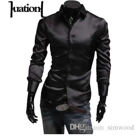 check out 51eef 4f4d0 Camicia di seta uomo Huation 2018 Camicia a maniche lunghe da uomo di marca  moda Uomo Camisa masculina sociale Camicia uomo casual nero