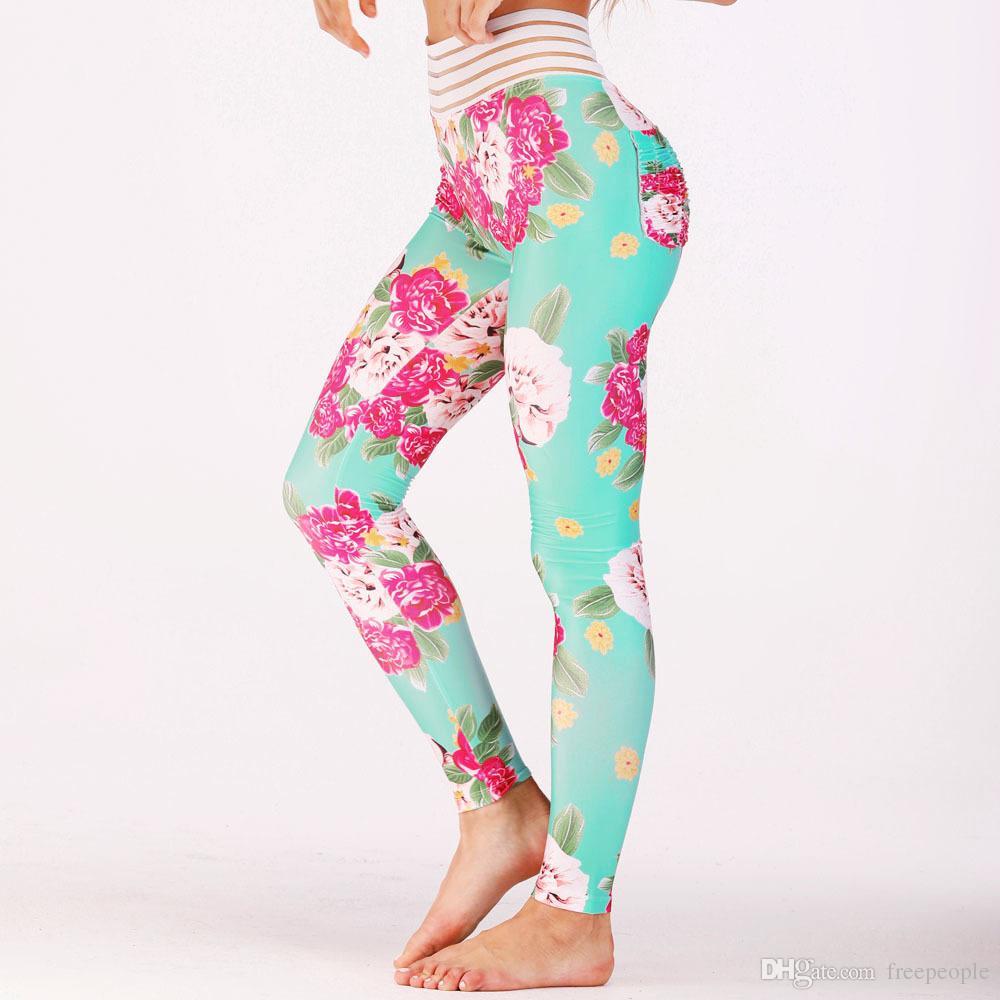 6bc46fa4dec2d Women s Digital Floral Print Sexy Butt Lift Workout Leggings Hip ...
