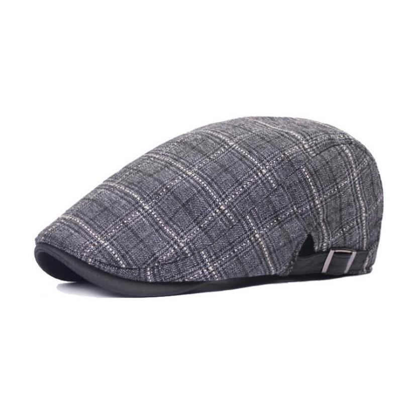 f012af84fd0 2019 2018 Spring And Autumn C Vintage Hat British Style Striped Men s Plaid  Beret Caps Visor Hat CL0665 From Hongshaor