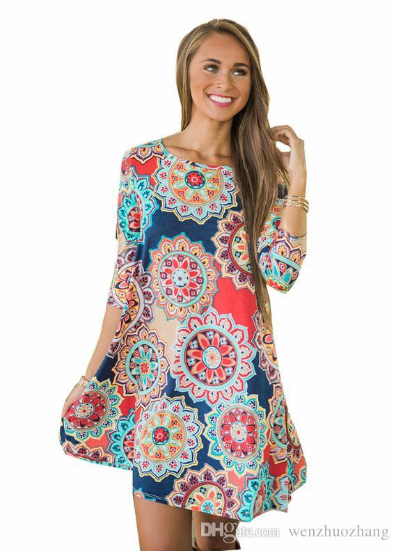 European and American autumn new 7 - point sleeve pocket folk style printing large dress 5 yards.