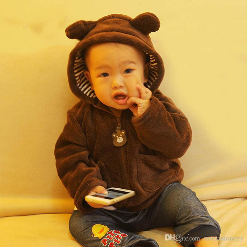 Hot Infant Coat Coral Velvet Baby Girl Boy Hooded Jacket Children ...