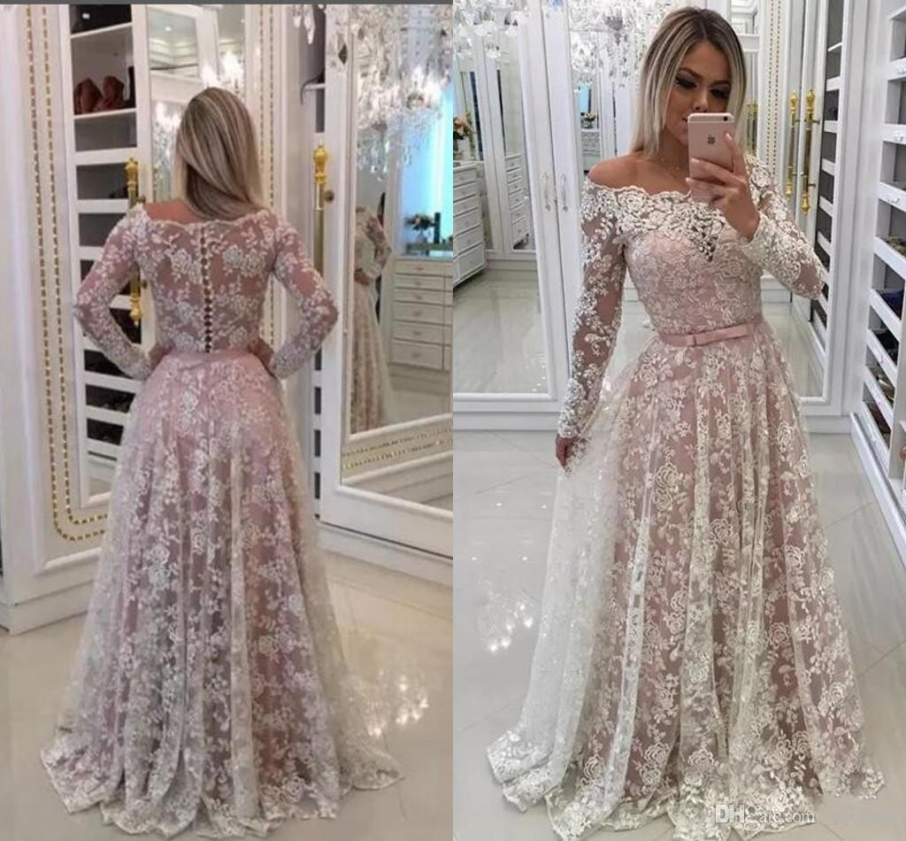 435927c9adb 2018 Prom Dresses Off Shoulder Full Lace Applique Illusion Button Back Long  Sleeves Sweep Train Pink Evening Dress Wear Party Pageant Gowns Prom Dresses  ...